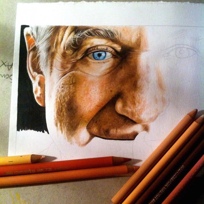 Портрет Робина Уильямса в процессе создания.