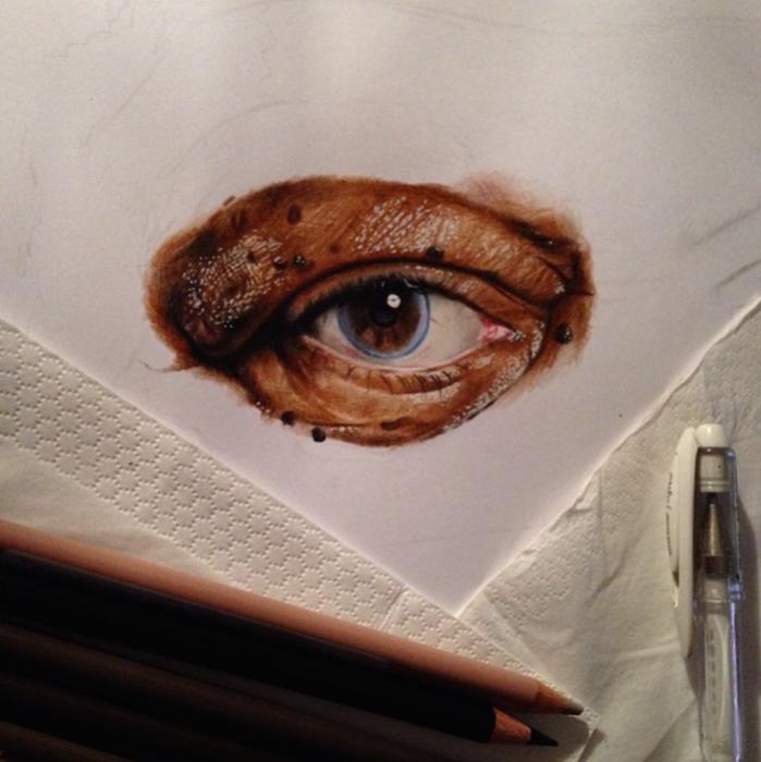 Процесс создания портрета Моргана Фримана.