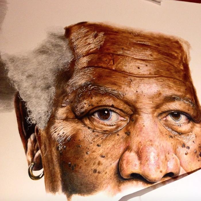 На портрет Моргана Фримана у Джека ушло 137 часов.