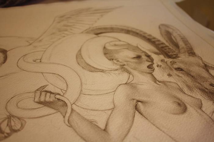 Фауна: в процессе создания картины.