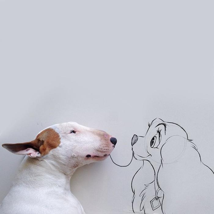 Рисунки маркером собак