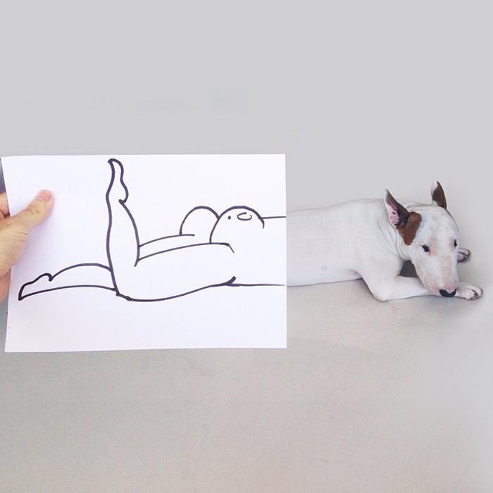 Забавные иллюстрации Рафаэля Мантессо с бультерьером в главной роли.