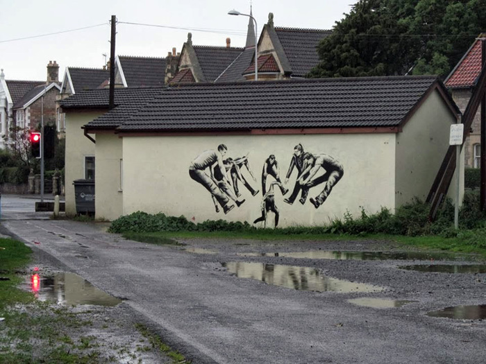 Ироничное граффити от JPS.