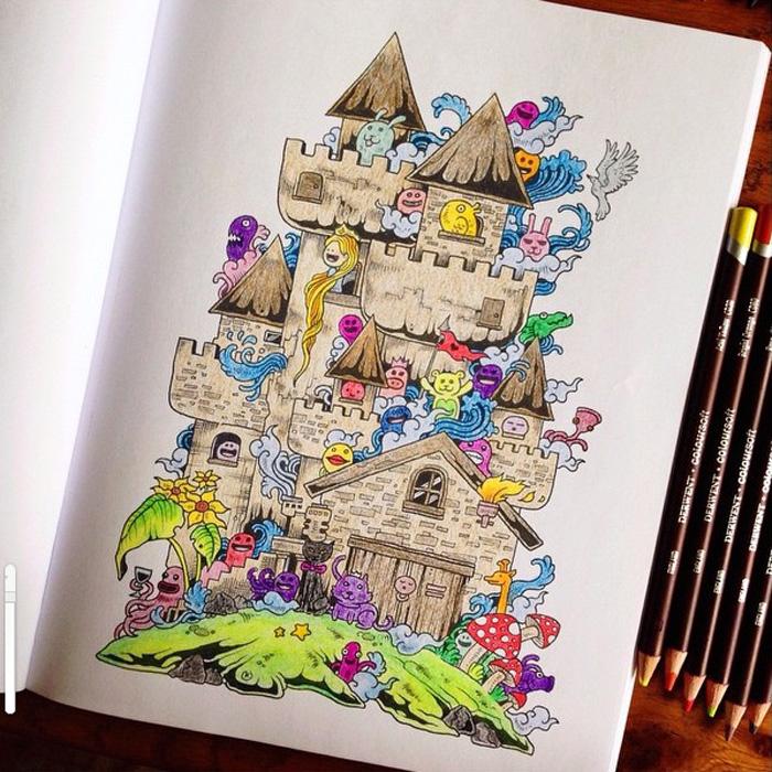 Обычные цветные карандаши помогут картинке *ожить*.