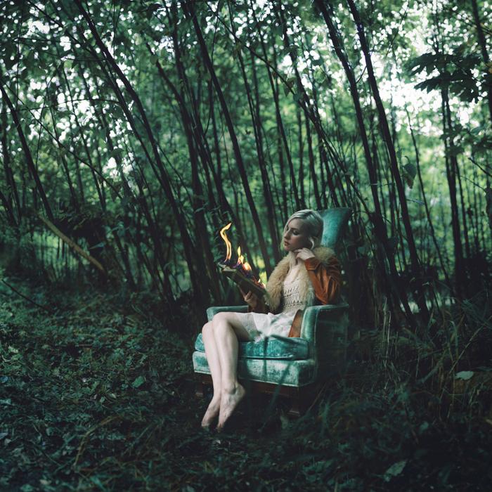 В лесу.