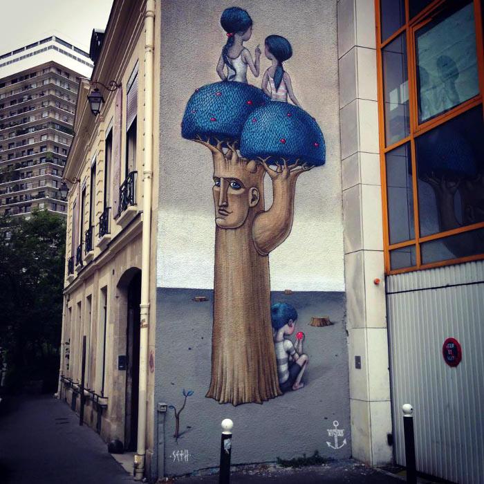 Seth & Kislow: мурал в Париже.