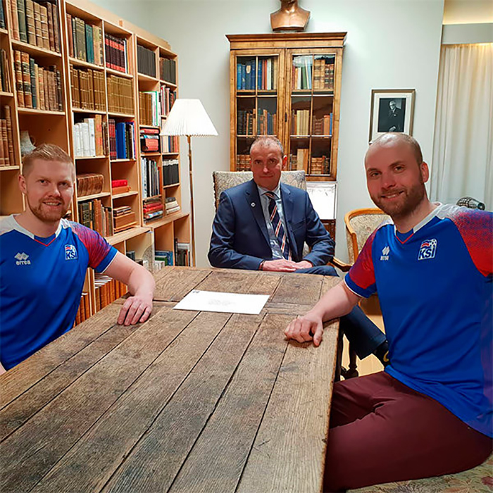 Гретар и Кристбьорн на встрече с Президентом Исландии.