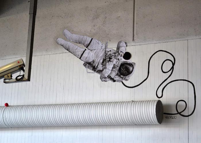 В открытом космосе.  Автор: Levalet.