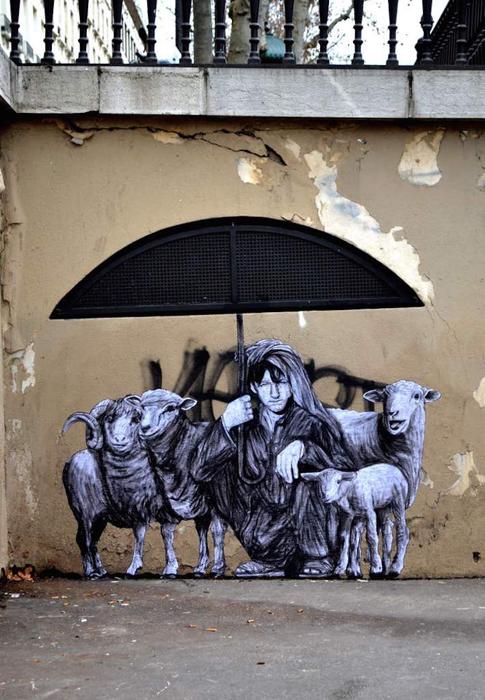 Под зонтом.  Автор: Levalet.