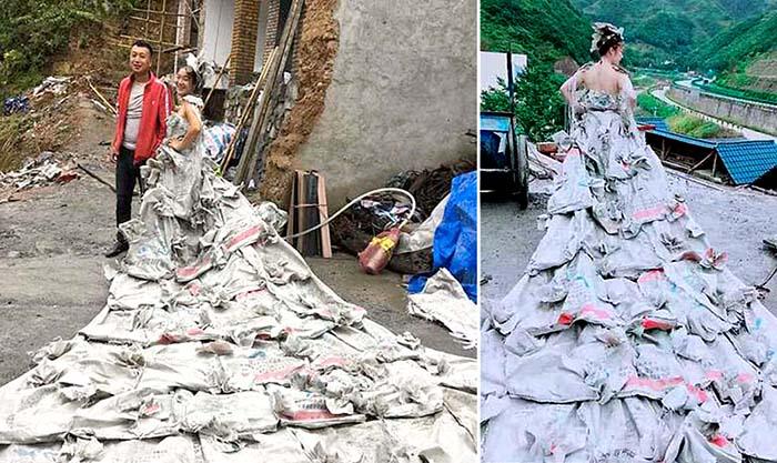 Девушка из Китая сшила себе платье из 40 мешков.