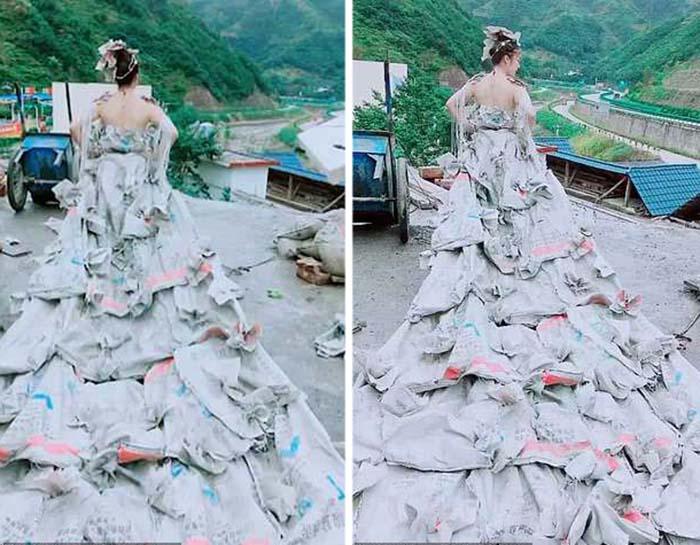 Платье из мешков из-под цемента.