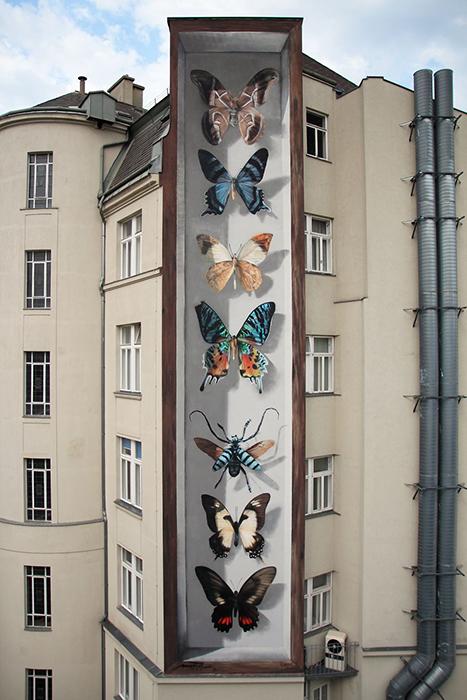 Мурал в Вене, Австрия. Закончен в августе 2017 года в рамках фестиваля Calle Libre. Автор: Mantra.