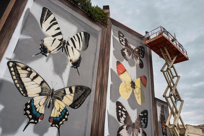 Финальные штрихи в создании мурала *Бабочки Арагона*. Автор: Mantra.