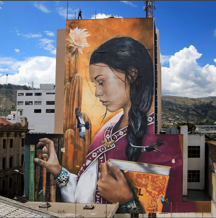 La formule secrète. Мурал в городе Амбато, Эквадор. *Я закрываю этот год самым высоким муралом в моей карьере.* Декабрь 2016г. Автор: Mantra.