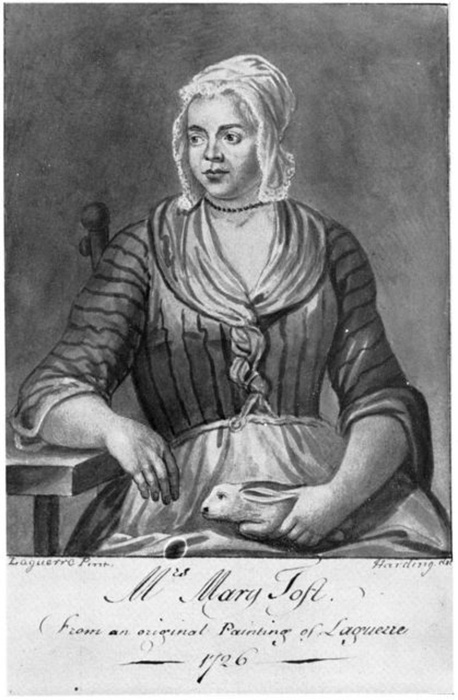 Мэри Тофт. Гравюра Джона Лагерре, 1726 год.