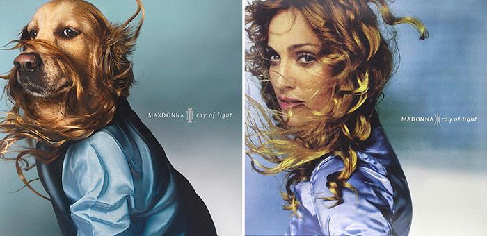 Макс смотрит прямо в камеру, также как и Мадонна для обложки своего альбома *Ray of Light*.