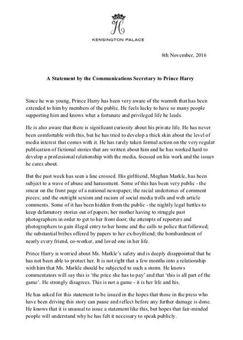 Просьба от имени Кенсингтонского дворца прекратить преследование Меган Маркл и ее семьи.