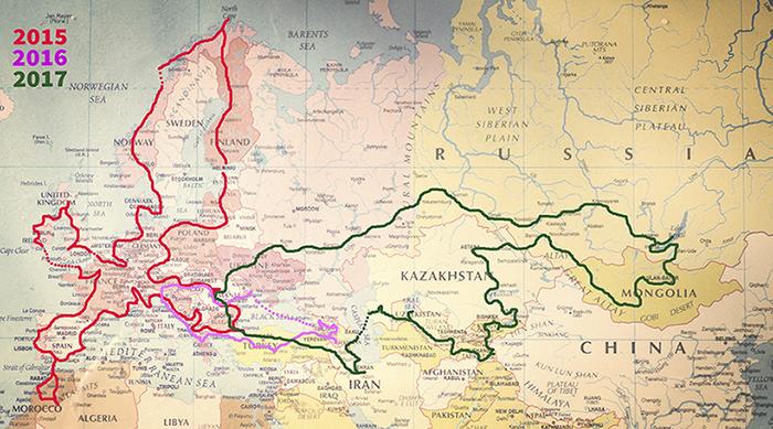 Карта путешествий семьи Барбу.