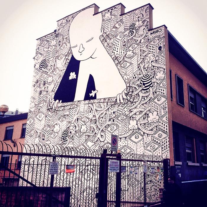 Рисунки на домах в Турине.