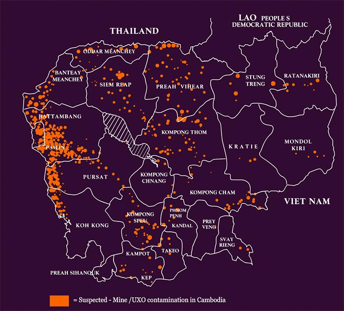 Концентрация минных полей в Камбодже. Оранжевым цветом показаны предположительные минные поля.