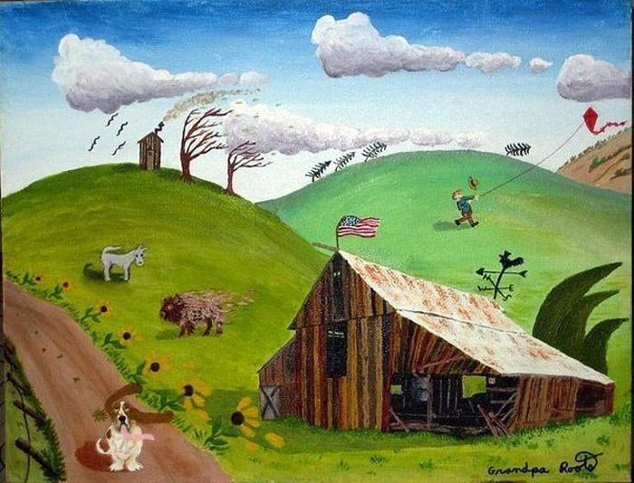 Ветреный день (On a windy day). Автор: Bob (Grandpa) Roots. Автор пишет: *Мне очень понравилось, как вышел сарай. Но когда я начал рисовать людей и зверей, то понял, что с пропорциями у меня большая проблема*.