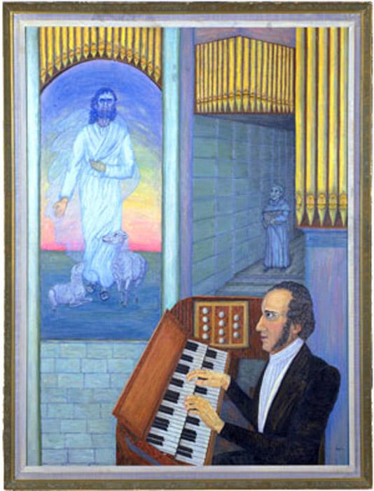 Вдохновение (Inspiration). Автор неизвестен. Музыкант не отводит взгляда от призрачного видения, монах идет вдоль стены, и все обрамлено трубами органа, похожими на карандаши.