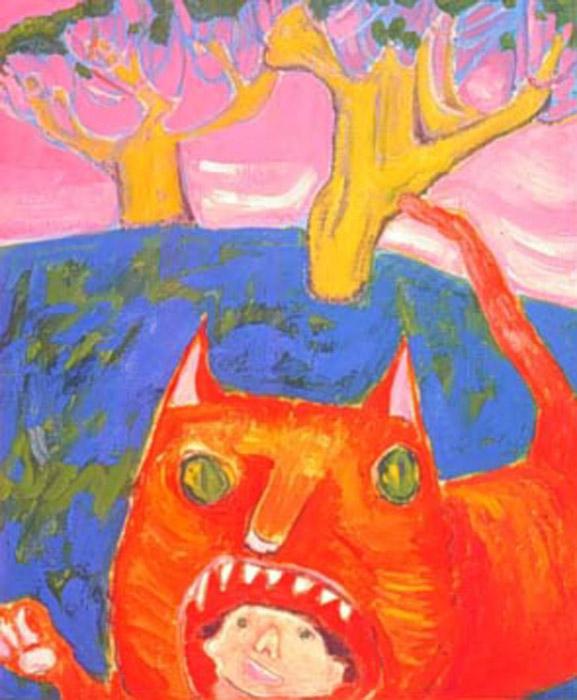 В пасти кота (In the cat's mouth). Автор (вероятно): Pangorda. Возможно, таким образом художник пытается посмотреть на мир глазами своего питомца.