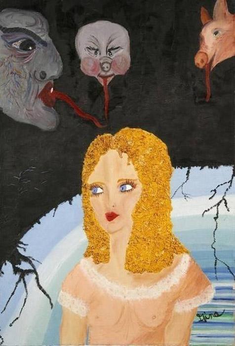 """Демоны Джины (Gina""""s demons). Автор: Gina. Несмотря на ужасных демонов, атакующих Джину из темноты, девушка не забывает быть привлекательной: полупрозрачный пеньюар, уложенная прическа и полный макияж как бы оберегают Джины от плохого вокруг."""