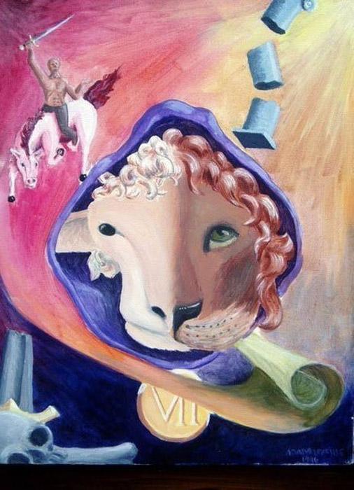 Мартовское безумие (March madness). Автор: Adam Leveille (1996). Лев и ягненок иллюстрируют агонию поражения.