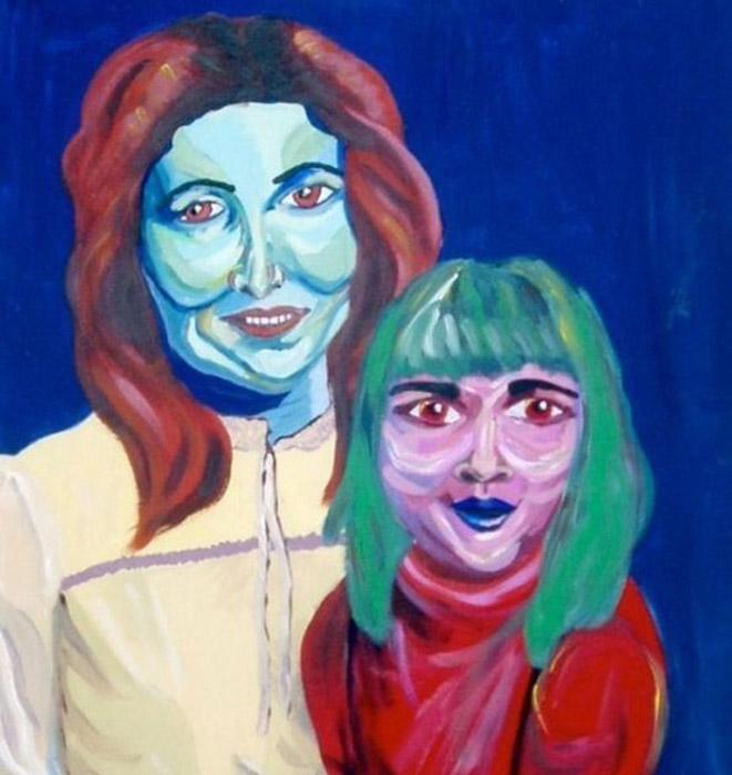Мама и ребенок (Mama and babe). Автор: Sarah Irani. Цвет лица, возможно, выдает недавнее отравление в ближайшей забегаловке. Яркость красок делает этот портрет по-настоящему незабываемым.