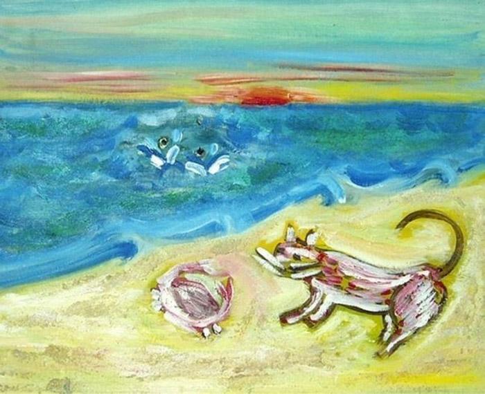 На берегу во время заката (On the shore at sunset). Автор неизвестен. Два тонущих человека остаются незамеченными на фоне драмы, разворачивающейся на берегу, где собака и краб, нарисованные одними и теми же цветами, сражаются друг с другом.