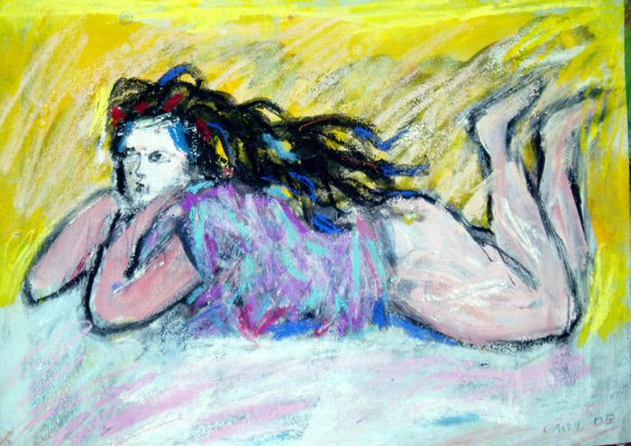 Печальный тинейджер (Sad teenager). Автор: Vlademar Cher, Швеция (2005). Девушка лежит на животе, пребывает в задумчивости. История исчезновения штанов неизвестна.