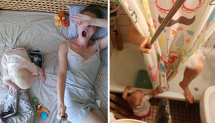 Рутинный день мамы, вооружившейся селфи-палкой.