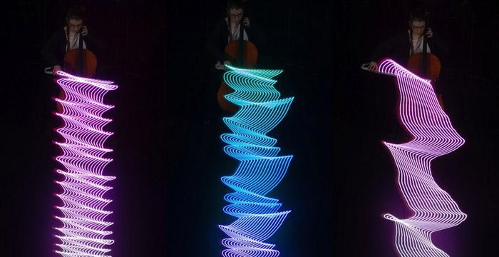 Визуальное изображение игры на виолончели.