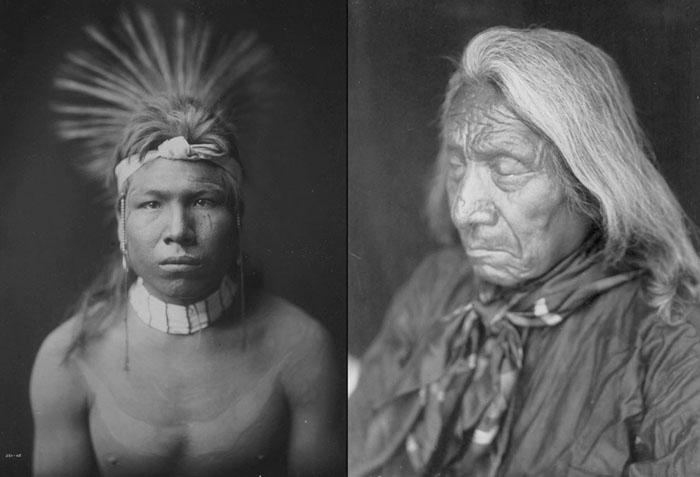 Слева: Черноволосый, 1905. Справа: Красное Облако, 26 декабря 1905.