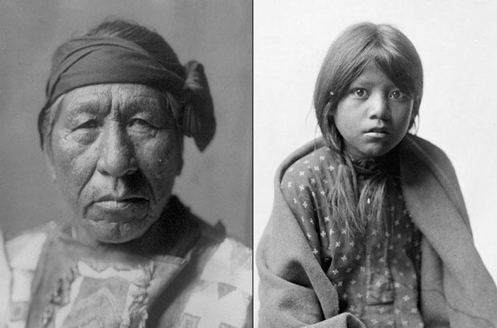 Слева: Сидящая Сова из племени Хидатса, 1908. Справа: девочка из племени Таос, 1905.