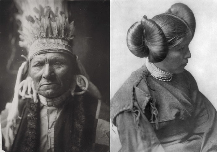 Слева: Индеец Желтый Бык из племени Нез Персе. Справа: женщина из племени Хопи, 1905.