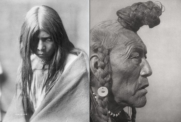Слева: Зош Клисн из Апачей, 1906. Справа: Медвежий Бык с прической, характерной для древнего племени Блэкфут.