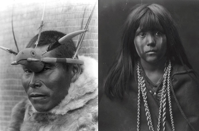 Слева: мужчина с острова Нунивак с украшением из дерева в виде головы птицы, 1929. Справа: Моса из племени Мохаве, 1903.