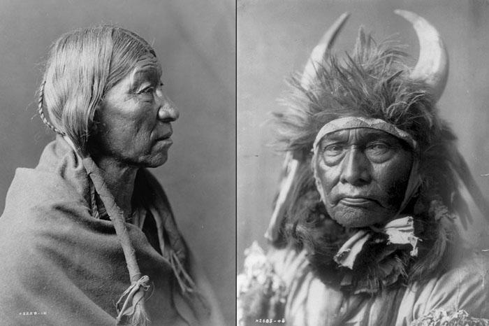 Слева: индеец из племени Шайенн, 1910. Справа: Главный Бык, племя Апсароке, 1908.