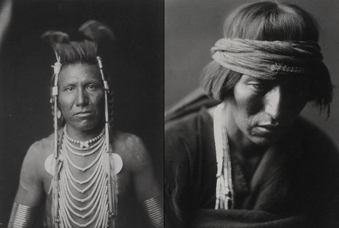 Слева: Бен Длинное Ухо, 1905. Справа: Хастобига, знахарь племени Навахо, 1904.