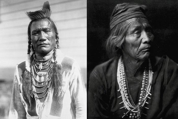 Слева: Птица-Трещотка, племя Пикани, 1910. Справа: Нешайа Хатали, знахарь Навахо, 1904.