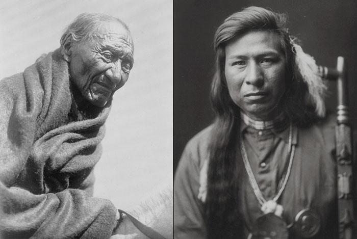 Слева: Утренний Орел из племени Пикани, 1910. Справа: Та Ит Вэй с трубкой мира, 1905.