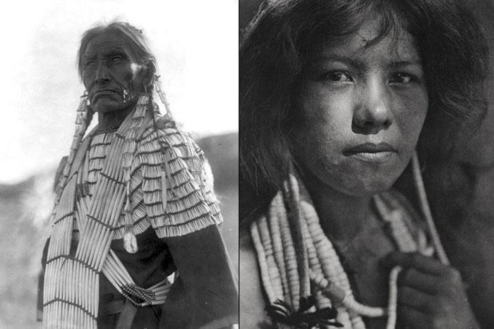 Слева: жена Медленного Быка, Дакота, 1907. Справа: девушка племени Помо, Калифорния.