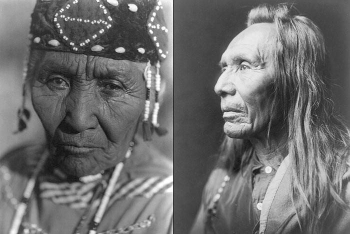 Слева: жена Модока Генри из племени Кламат, 30 июня 1923. Справа: Три Орла, племя Нес Персе, 1910.