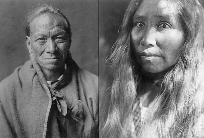 Слева: Па Той (Белая Глина) из племени Таос, 1905. Справа: женщина из племени Като, Калифорния, 1924.