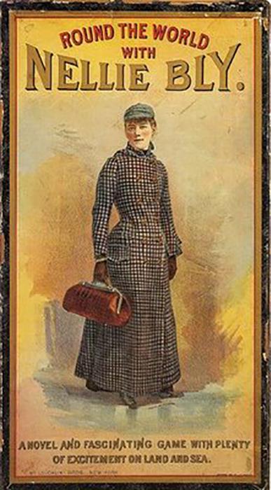 Обложка настольной игры 1890 года *Путешествие вокруг свет с Нелли Блай*.