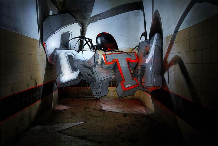 Необычные граффити от Odeith.