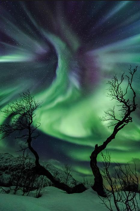 Создание. Фотографии северного сияния над Норвегией.