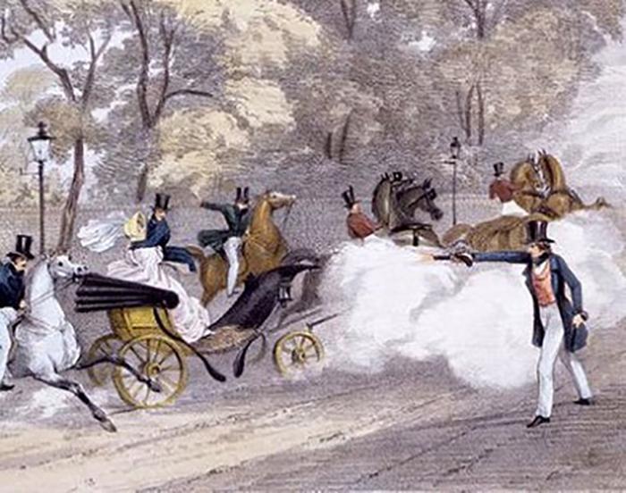 Литография с попыткой Эдварда Оксфорда убить Викторию, 1840 год.